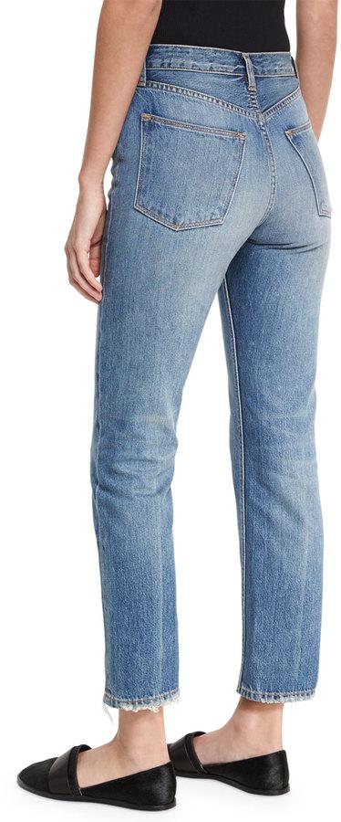 Vince High-Rise Vintage Straight-Leg Jeans, Med Wash
