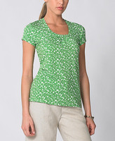 Floral-Printed Shirred Jersey Tee