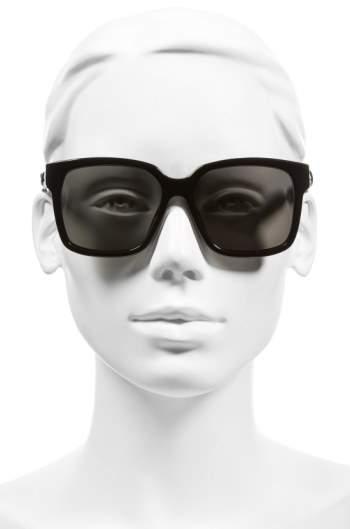 Balenciaga Women's Paris 'Ba0053' 55Mm Cat Eye Sunglasses - Shiny Black/ Smoke