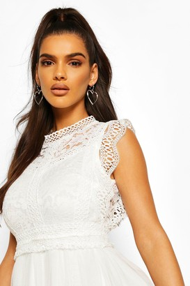 boohoo Crochet Lace Sleeveless Skater Dress