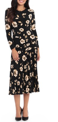 Maggy London Floral Pleated Midi Dress