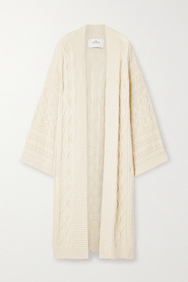 I Love Mr Mittens Cable-knit Cotton Cardigan - Cream