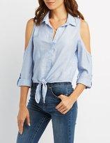 Charlotte Russe Striped Cold Shoulder Button-Up Shirt