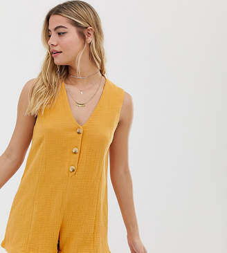 rhythm Camille cotton button front beach playsuit in marigold-Yellow