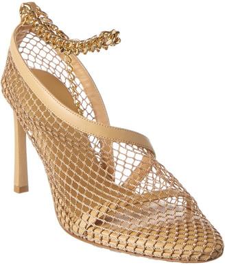 Bottega Veneta Ankle Strap Mesh & Leather Sandal