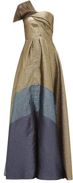 Thumbnail for your product : Roland Mouret Savannah Draped Lame-cloque Gown - Gold