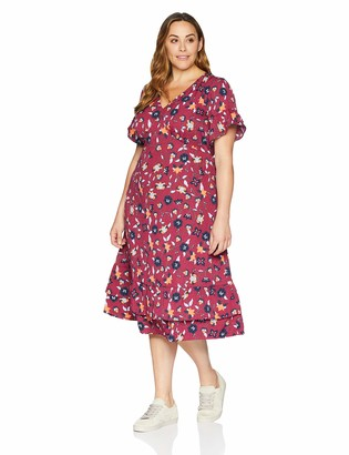 Junarose Women's Plus Size Hivas Short Sleeve Midi Dress