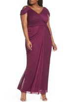 Adrianna Papell Plus Size Women's Cold Shoulder Gown