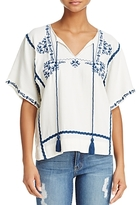 Ella Moss String-Tie Embroidered Top