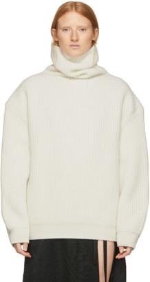 Ann Demeulemeester Off-White Wool Rib Knit Turtleneck