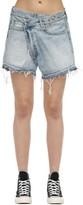 R 13 Crossover Cotton Denim Shorts