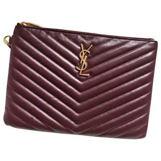 Saint Laurent Satchel monogramme Burgundy Leather Clutch bags