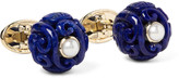 Trianon - Canton 18-karat Gold, Lapis And Pearl Cufflinks