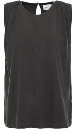 Current/Elliott The Knit Angeline Pintucked Cotton-blend Jersey Tank