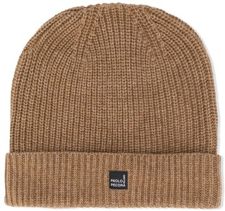 Paolo Pecora Kids TEEN logo patch beanie hat