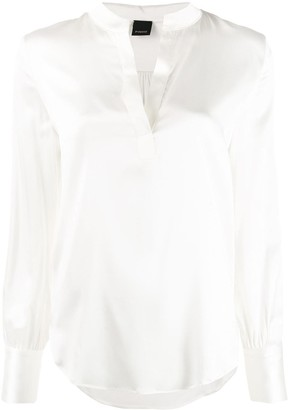 Pinko Petrali band-collar satin blouse