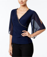 MSK Embellished Flutter-Sleeve Faux-Wrap Top