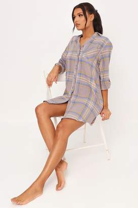 I SAW IT FIRST Grey Brushed Check Nightshirt