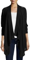 525 America Zip-Shoulder Open-Front Cardigan, Black