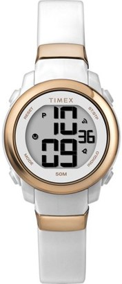 Timex Women's DGTL Stacked Numbers 28mm White/Rose Gold Resin Strap Watch