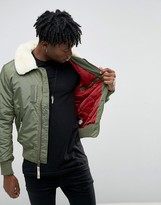 Alpha Industries Bomber Jacket With Shearling Collar In Slim Fit Sage Green