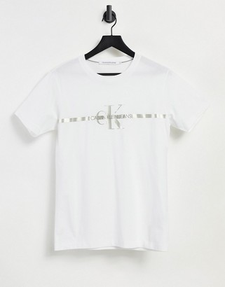 Calvin Klein Jeans gold taping monogram t-shirt in white