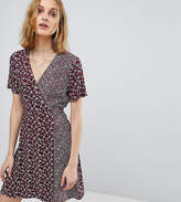 Reclaimed Vintage Inspired Mixed Print Button Wrap Dress