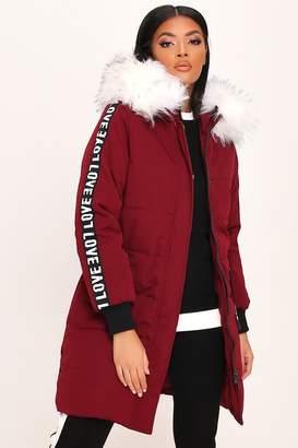 I SAW IT FIRST Burgundy Slogan Tape Sleeve Long Padded Coat