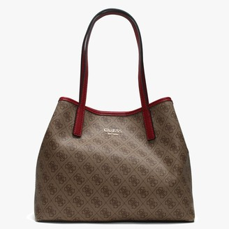 GUESS Vikky Brown Signature Logo Coated Canvas Tote Bag