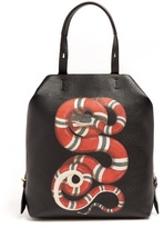 Gucci Snake-print Leather Backpack