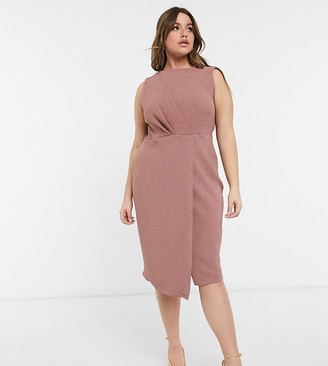 Closet London Plus wrap detail pencil dress in deep winter rose