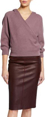 Brunello Cucinelli Hooded Cashmere Rib Sweater