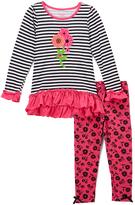 Nannette White & Pink Flower Tunic & Leggings - Toddler & Girls