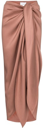 BONDI BORN Draped Tie-Front Midi Skirt