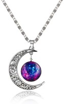 Romwe Silver Sun Moon Pendant Necklace