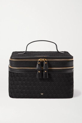 Anya Hindmarch Vanity Kit Leather-trimmed Velvet-jacquard Cosmetics Case