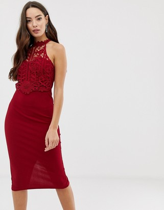 Girl In Mind high neck crochet lace midi dress-Red