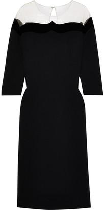 Oscar de la Renta Tulle-paneled Wool-blend Crepe Midi Dress
