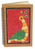Handmade India Tribal Folk Art Journal, 'Red Gond Peacock'