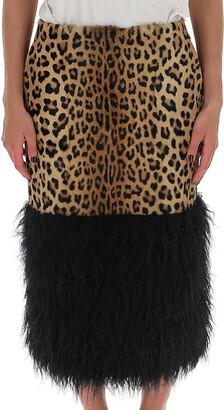 Saint Laurent Leopard Print Pencil Skirt