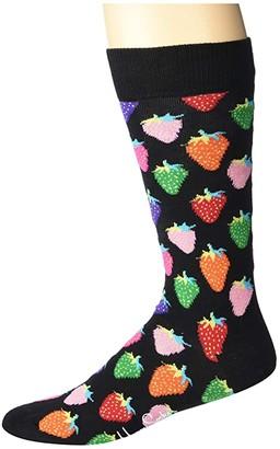 Happy Socks Strawberry Sock (Black Combo) Men's Crew Cut Socks Shoes