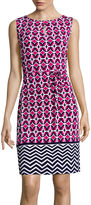 Liz Claiborne Sleeveless Geo-Print Self-Tie Shift Dress