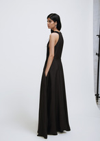 Yang Li black front pleated panel long dress