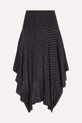 Stella McCartney Asymmetric Printed Silk Midi Skirt - Navy