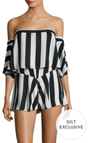 Lucca Couture Gathered Stripe Off Shoulder Romper
