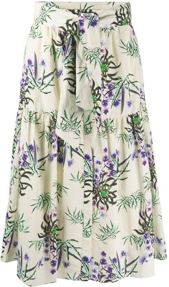 Kenzo Sea Lily print flared skirt