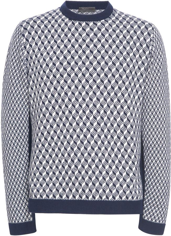 Prada Geometric-Print Cashmere Sweater