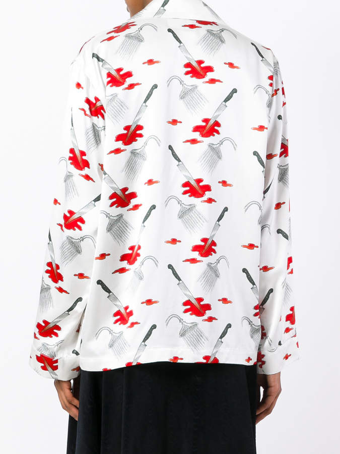 Olympia Le-Tan Jeff top with Psycho print