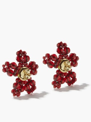 Simone Rocha Beaded Flower Earrings - Red Multi