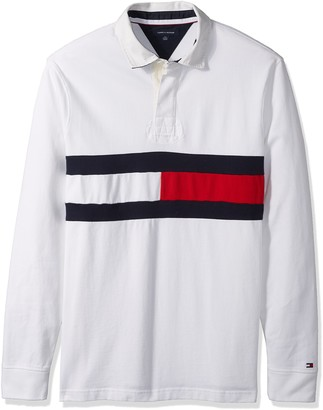 Tommy Hilfiger Men's Big and Tall Long Sleeve Polo Shirt with Rugby Flag